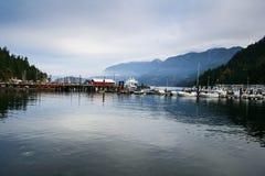 Sooke港口小游艇船坞。 库存图片