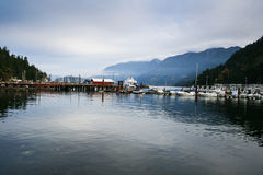 Sooke Harbour marina. Boats in the marina in Sooke harbour near Victoria, British Columbia Stock Image