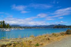 Sooke harbour. And rolling Sooke hills in the background ,Vancouver Island, BC, Canada royalty free stock image