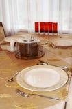 Soon dinner. Table. spoon  knife   fork silverware stock photography