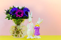 Soon Easter is. A vase and two Bunny bear witness of Easter Stock Photo