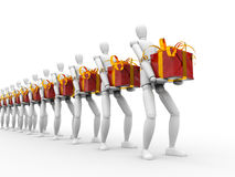 Soon holiday time to do gift. People and gift isolated on white stock illustration