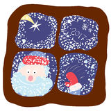 Soon make a wish. Smiling Santa peeping through the window in the winter on a background of falling stars and snow Stock Photography