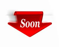Soon Red. Red glass top arrow page bookmark. Part of a series Royalty Free Stock Image