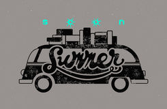 Soon Summer. Typographic retro grunge poster. Vector illustration. Royalty Free Stock Images