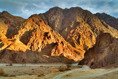 Soon there will come evening. The mountains brightly shined by the sun about Eilat in Israel Stock Image