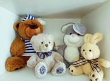 Soon to the kindergarten. While toys. Stock photo - children& x27;s toys, Plush toys, bunny, teddy bear, soon to the kindergarten, soon to school, soon Royalty Free Stock Photo