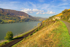 Sooneck. Castle Sooneck and Rhine river in Germany Stock Photos