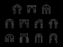 Soorten de pictogrammeninzameling van de boog witte lijn Royalty-vrije Stock Foto