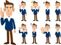9 soorten mannelijke uitdrukking en stellen reeks _geheel lichaam stock illustratie