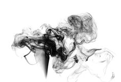 Soot. Black smoke. Black smoke on a white background Stock Photo