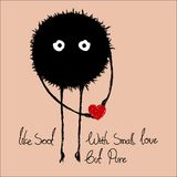 Soot with smal love heart but pure. jelaga royalty free illustration