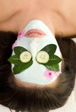 Soothing Green Tea and Cucumber mask Royalty Free Stock Photography