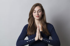 Soothing hands for meditating at work Stock Image