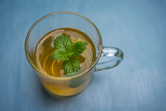 Soothing hot mint tea. Fresh mint tea to soothe and offer relief from stomach upsets Stock Photos