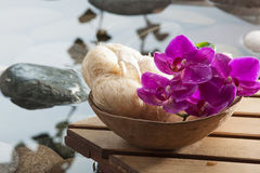 Soothing loofah at the beauty spa. Exfoliation massage after hydration with pure water Royalty Free Stock Photography
