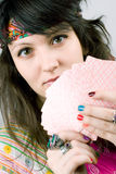 Soothsayer with scrying cards. Closeup portrait of soothsayer with scrying cards Stock Photography