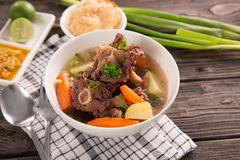 Sop buntut or oxtail soup. Indonesian traditional culinary royalty free stock photography