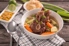 Sop buntut or oxtail soup. Indonesian traditional culinary stock images
