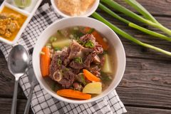 Sop buntut or oxtail soup. Indonesian traditional culinary royalty free stock image