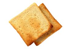 Sop in the pan. Two slices of toasted bread on a white background Royalty Free Stock Photos
