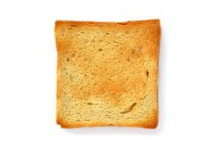Sop in the pan. Two slices of toasted bread on a white background Stock Images