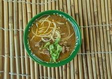 Sop saudara. Beef or buffalo soup specialty of Makassar city, South Sulawesi Royalty Free Stock Photos
