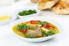 Sopa óssea turca do cordeiro com cenoura Imagem de Stock