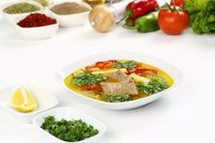 Sopa óssea turca do cordeiro com cenoura Imagens de Stock