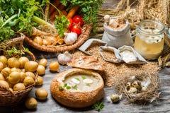 Sopa amarga con el huevo de codornices y las verduras frescas Fotos de archivo libres de regalías