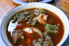 Sopa amarga hecha de la goma del tamarindo con el camarón Foto de archivo