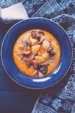 Sopa amarga rumana con las patatas y el cerdo ahumado Imagen de archivo libre de regalías