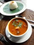 Sopa asiática do yam de tom do alimento com marisco fotografia de stock