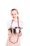 Sopa bonita del cocinero de la muchacha Imágenes de archivo libres de regalías