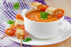 _vegetal poner crema sopa con tomate, albahaca y tostada fotos de archivo libres de regalías