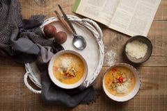 Sopa caseiro da sopa de peixe com queijo Fotografia de Stock