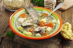 Sopa caseiro de peixes do rio na bacia Imagem de Stock