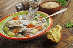 Sopa caseiro de peixes do rio na bacia Imagens de Stock Royalty Free