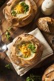 Sopa caseiro dos brócolis e do queijo Cheddar foto de stock
