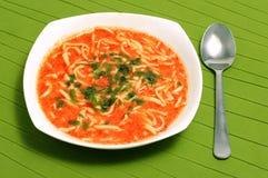 Sopa caseiro tradicional do tomate com macarronetes Imagens de Stock Royalty Free