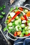 Sopa clara fresca colorida da mola - estoque do vegetariano imagens de stock royalty free