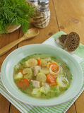 Sopa com carne e aipo Imagens de Stock