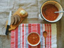 Sopa com beterraba e o outro prato do ucraniano dos vegetais Imagem de Stock