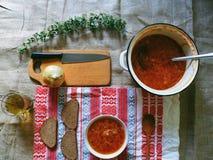 Sopa com beterraba e o outro prato do ucraniano dos vegetais Fotografia de Stock