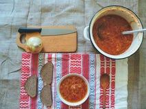 Sopa com beterraba e o outro prato do ucraniano dos vegetais Imagem de Stock Royalty Free