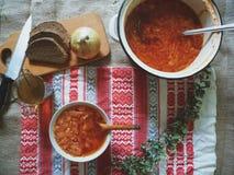 Sopa com beterraba e o outro prato do ucraniano dos vegetais Fotografia de Stock Royalty Free