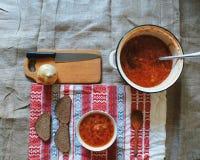 Sopa com beterraba e o outro prato do ucraniano dos vegetais Foto de Stock