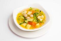 Sopa com bróculos e carne Imagens de Stock Royalty Free