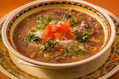 Sopa com carne e feijões Imagens de Stock