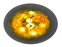 Sopa com cenoura, cebola, paprika e almôndegas Fotografia de Stock